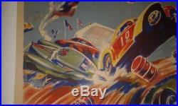 Rare Affiche Originale Entoilée Geo Ham Course De Stock Cars 45cm X 42cm