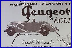 Rare Affiche Originale Peugeot Eclipse 401 601 G. Paulin Pourtout 1933 34 35