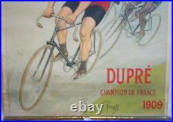 Rare Affiche Pub Ancienne Cycle Francaise Diamant Pneu Hutchinson 1909