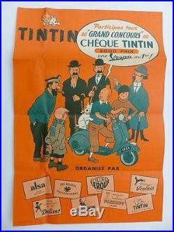 Rare Affiche TINTIN de 1954 concours chèque Tintin une VESPA au premier! A VOIR