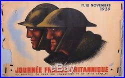 Rare Affiche Wwii Propaganda Poster Journee Franco-britanique 1939