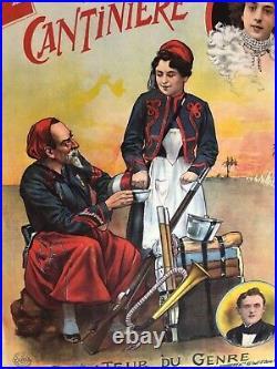 Rare Affiche ancienne Artistes 1900 le zouave et la cantinière par Faria