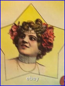 Rare Affiche ancienne Geraldinos artistes 1900 transformistes par Faria cirque