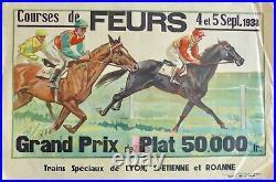 Rare Affiche ancienne Lithographique 1938 Courses de Chevaux a FEURS