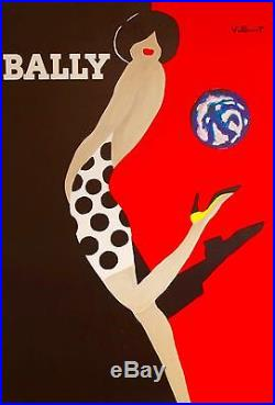 Rare Affiche original Bernard Villemot La femme au ballon 172X120 cm Poster