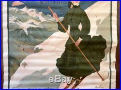 Rare Ancienne Affiche 1905 Chamonix PLM Abel FAIVRE J Barreau Chemins De Fer