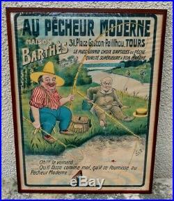 Rare Ancienne Affiche Au Pêcheur Moderne Tours