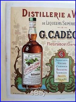 Rare Ancienne Affiche Lithographiee Distillerie Cadeot Liqueurs Absinthe Du Gers
