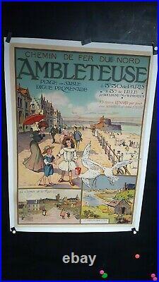 Rare Et Belle Affiche Plage Ambleteuse (62) Litho Epoque 1900 102x74cm