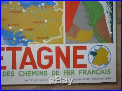 Rare affiche Bretagne tourisme SNCF roland Goujon 1939 originale