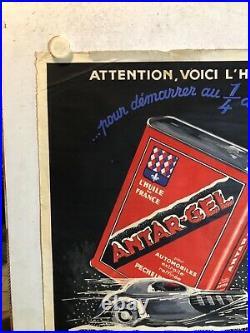 Rare affiche ancienne Antar gel annees 30 bidon d huile voiture