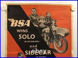 Rare affiche ancienne BSA moto vainqueur winner 1950