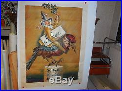 Rare affiche ancienne Chocolat Schaal Strasbourg Pivert par Abel Faivre 1930