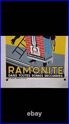Rare affiche ancienne Ramonite cheminée charbon ramoneur Bruxelles