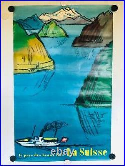 Rare affiche ancienne Tourisme Suisse les beaux lacs par Monnerat