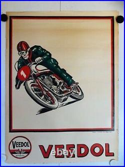 Rare affiche ancienne Veedol Motor oil moto de course bidon garage voiture