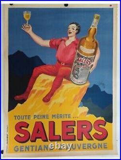 Rare affiche ancienne alcool gentiane Salers par Robys 1935