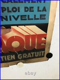 Rare affiche ancienne batterie Monoplaque par Falcucci annees 30 automobile