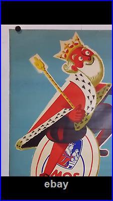 Rare affiche ancienne biere Amos roi au verre à bière