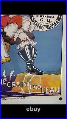 Rare affiche ancienne cirage Jean Bart pirate navire Dunkerque
