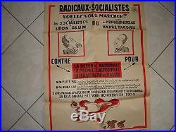 Rare affiche ancienne concernant RADICAUX-SOCIALISTES