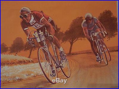 rare affiche ancienne course velo type tour de france cyclisme. Black Bedroom Furniture Sets. Home Design Ideas