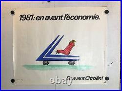 Rare affiche ancienne de Savignac pour Citroen automobile 1981