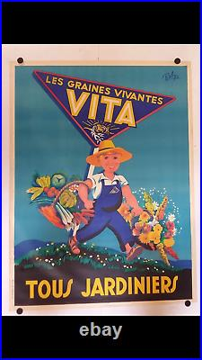 Rare affiche ancienne graines Vita jardinier fleurs légumes par Robys