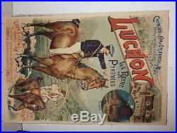 Rare affiche ancienne tourisme casino Luchon 1900 Pyrenes chemin de fer chevaux