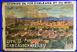 Rare affiche litho originale de la Cité de CARCASSONNE par Grasset en 1909