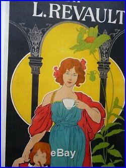 Rare affiche originale litho de 1895 pour CHOCOLAT L. REVAULT, 198 x 98 cm