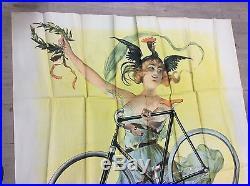 Rare et superbe affiche publicitaire ancienne cycles clement 1.60m/1.14m