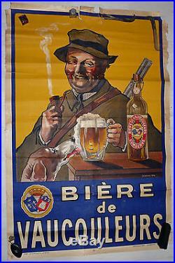 Rare grande affiche Bière de Vaucouleurs chasseur chien pipe fusil S. Canoni 1914