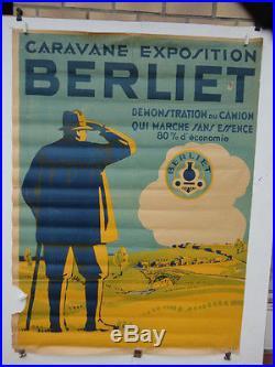 Rare grande affiche ancienne camion Berliet caravane exposition
