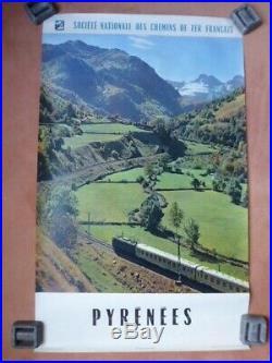 Rare lot de 4 affiches SNCF années 60