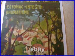 Rare modele affiche plombieres les bains 1926 paysage vosges robaudy heulluy