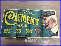 Rare petite affiche ancienne cycles clement 70cm/35cm