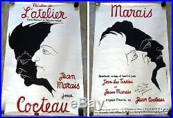 Rarissime Double Grande Affiche Jean Marais Cocteau Marais Dédicacee 1983