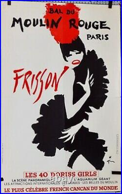 René Gruau Bal Du Moulin Rouge Affiche French Cancan Revue Frisson 60 X 40 CM
