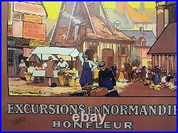 Roger SOUBIE HONFLEUR Affiche Ancienne entoilée 1927 Lithographie Originale