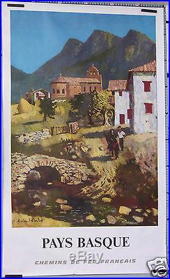 Roland Oudot Chemin De Fer Francais Sncf Pays Basque Rare Affiche Ancienne 1968