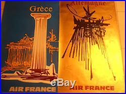 Série de 14 Affiche publicitaires originales Air France signées Georges Mathieu