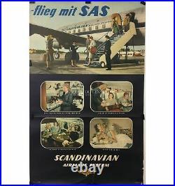 SAS Scandinavian Airlines Affiche originale aviation SAS vers 1960