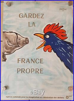 SAVIGNAC Affiche originale ancienne GARDEZ LA FRANCE PROPRE 77,5 x 56 cm