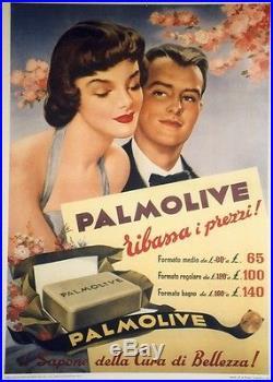 SAVON PALMOLIVE Affiche originale entoilée Typo-litho 1952 74x100cm