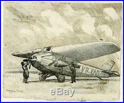 SCENE D'AVIATION Dessin au crayon entoilé par Maurice R. Y  années 20-30