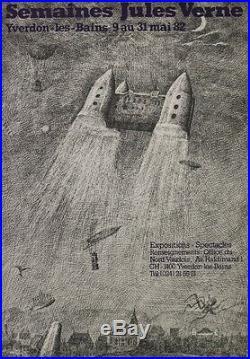 SEMAINES JULES VERNE / YVERDON-les-BAINS 1982 Affiche originale entoilée