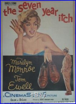 SEPT ANS DE REFLEXION (THE SEVEN YEAR ITCH) Affiche US entoilée Marilyn MONROE