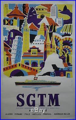 SGTM Marseille transports Maritimes AFFICHE ORIGINALE ANCIENNE /R609
