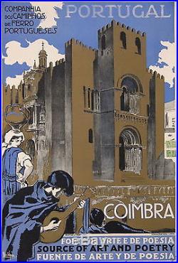 SOUZA AFFICHE ANCIENNE CAMINHOS DE FERRO PORTUGUESES PORTUGAL COIMBRA Ci 1930